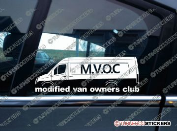 MVOC modified van owners club sticker -for VW Crafter van - super long